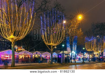 Christmas  market on the Champs Elysees in Paris at night