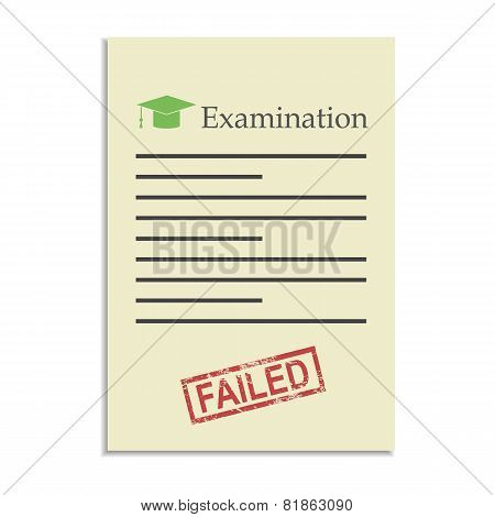 Examination Paper With Failed Stamp