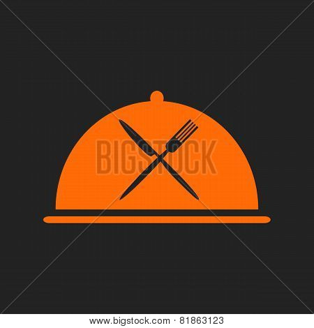Restaurant Icon With Orange Cloche And Flatware