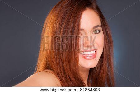 Vibrant Intimate Portrait Head Shot Attractive Female Redhead Woman