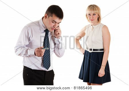 workaholic businessman and angry wife isolated on white