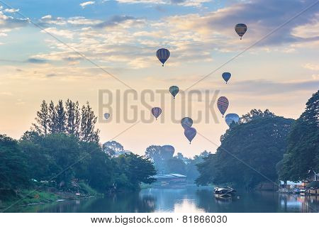 Balloon Floating To Sky With Foreground Ping River In The Morning