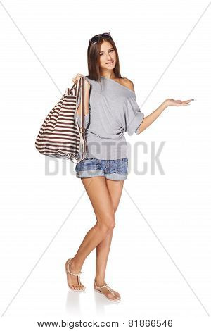 Summer girl  showing blank copy space