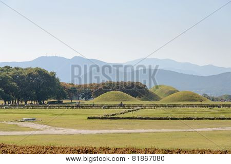 Gyeongju, Korea - October 18, 2014: Silla Tombs In Gyeongju