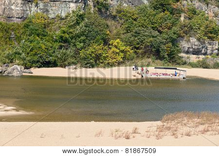 Andong, Korea - October 16, 2014: Boat At Nakdonggang
