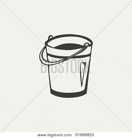illustration of bucket. Black and white style