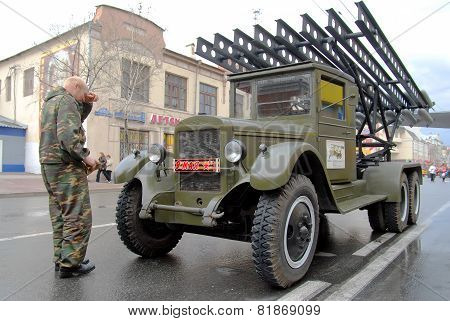 Driver near Katyusha multiple rocket launchers