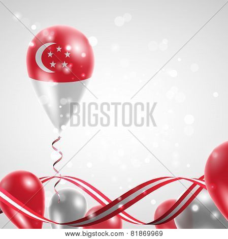 Flag of Singapore on balloon