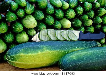 Oblong Marrow And Green Cucumber