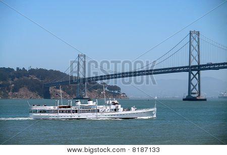 Uss Potomac Sails Towards The Bay Bridge