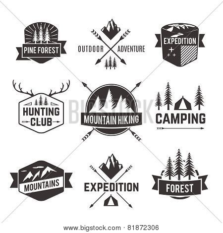 Tourism emblems labels set