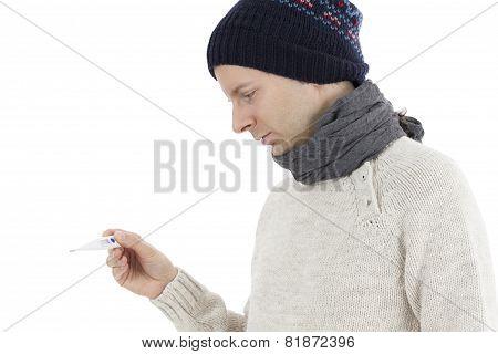 Sick Man Checking His Fever