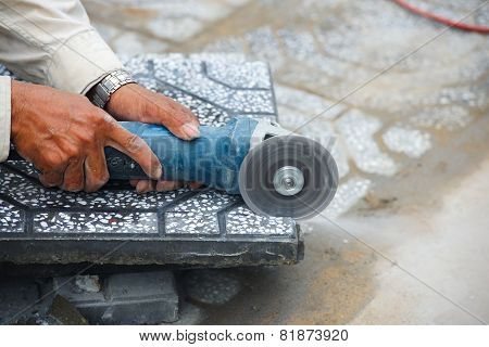 Cutting paving slabs outdoor