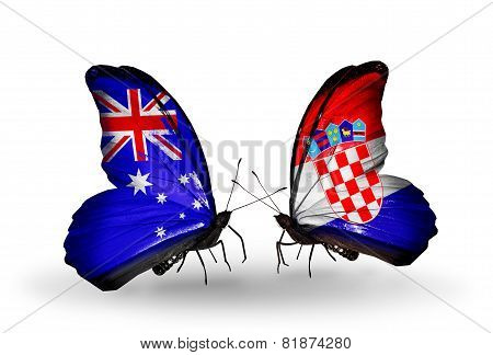 Two Butterflies With Flags On Wings As Symbol Of Relations Australia And Croatia