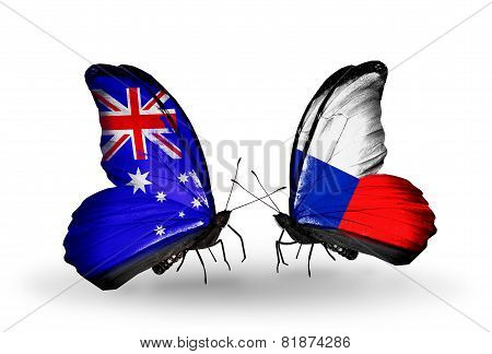 Two Butterflies With Flags On Wings As Symbol Of Relations Australia And Czech