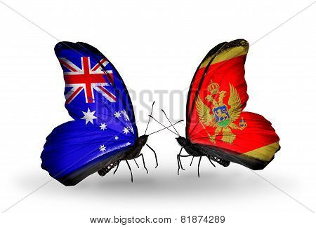 Two Butterflies With Flags On Wings As Symbol Of Relations Australia And Montenegro