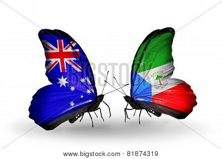 Two Butterflies With Flags On Wings As Symbol Of Relations Australia And Equatorial Guinea