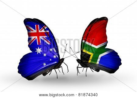 Two Butterflies With Flags On Wings As Symbol Of Relations Australia And South Africa