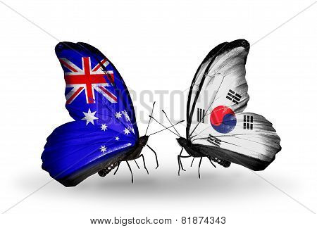 Two Butterflies With Flags On Wings As Symbol Of Relations Australia And South Korea