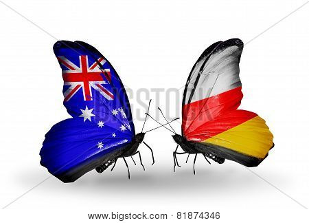 Two Butterflies With Flags On Wings As Symbol Of Relations Australia And South Ossetia