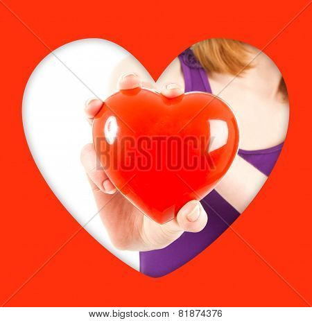 Woman Hand With Red Heart-shaped  Jewel Box