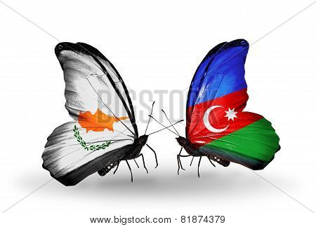 Two Butterflies With Flags On Wings As Symbol Of Relations Cyprus And Azerbaijan