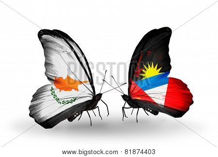 Two Butterflies With Flags On Wings As Symbol Of Relations Cyprus And Antigua And Barbuda