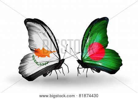 Two Butterflies With Flags On Wings As Symbol Of Relations Cyprus And Bangladesh