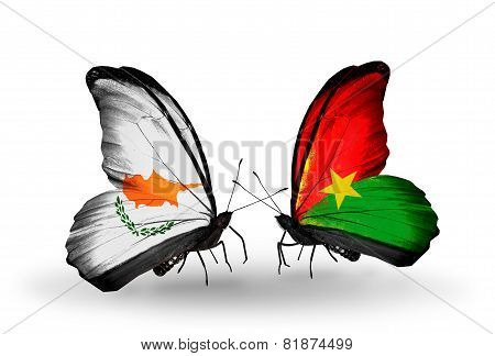Two Butterflies With Flags On Wings As Symbol Of Relations Cyprus And Burkina Faso