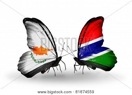 Two Butterflies With Flags On Wings As Symbol Of Relations Cyprus And Gambia