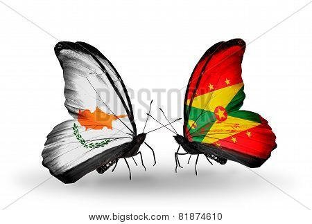 Two Butterflies With Flags On Wings As Symbol Of Relations Cyprus And Grenada
