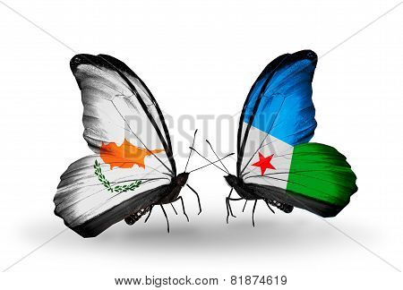 Two Butterflies With Flags On Wings As Symbol Of Relations Cyprus And Djibouti