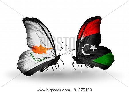 Two Butterflies With Flags On Wings As Symbol Of Relations Cyprus And Libya