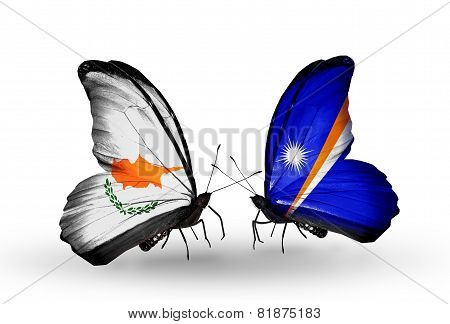 Two Butterflies With Flags On Wings As Symbol Of Relations Cyprus And Marshall Islands