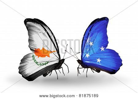 Two Butterflies With Flags On Wings As Symbol Of Relations Cyprus And Micronesia
