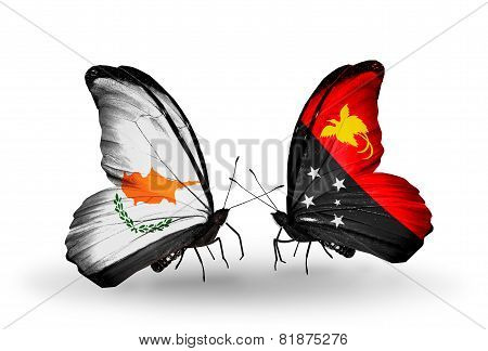 Two Butterflies With Flags On Wings As Symbol Of Relations Cyprus And Papua New Guinea