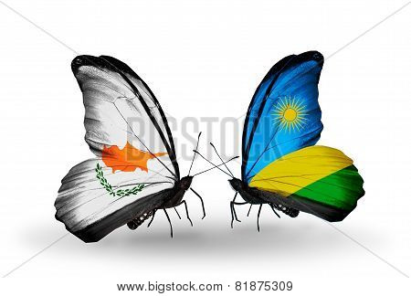 Two Butterflies With Flags On Wings As Symbol Of Relations Cyprus And Rwanda