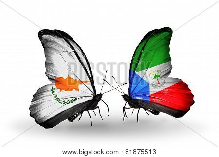 Two Butterflies With Flags On Wings As Symbol Of Relations Cyprus And Equatorial Guinea