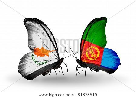 Two Butterflies With Flags On Wings As Symbol Of Relations Cyprus And  Eritrea