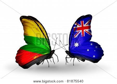 Two Butterflies With Flags On Wings As Symbol Of Relations Lithuania And Australia