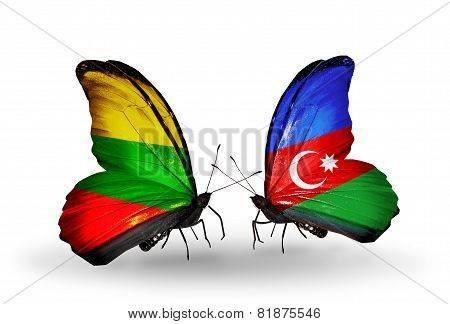 Two Butterflies With Flags On Wings As Symbol Of Relations Lithuania And Azerbaijan