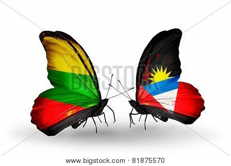 Two Butterflies With Flags On Wings As Symbol Of Relations Lithuania And Antigua And Barbuda