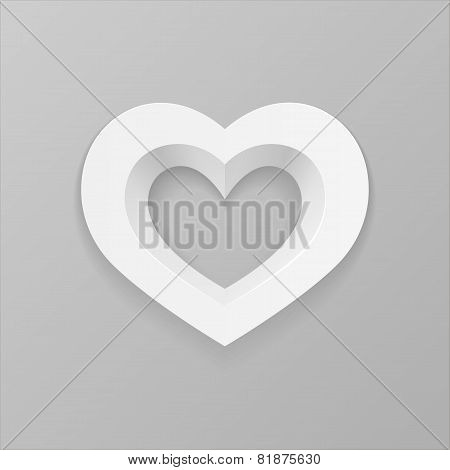 White Heart On A Gray Background
