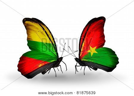 Two Butterflies With Flags On Wings As Symbol Of Relations Lithuania And Burkina Faso