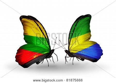 Two Butterflies With Flags On Wings As Symbol Of Relations Lithuania And Gabon