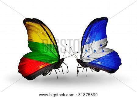 Two Butterflies With Flags On Wings As Symbol Of Relations Lithuania And Honduras