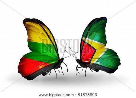 Two Butterflies With Flags On Wings As Symbol Of Relations Lithuania And Guyana