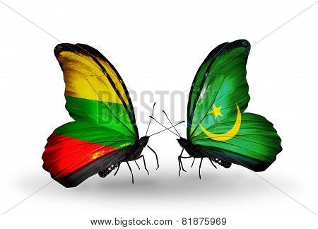 Two Butterflies With Flags On Wings As Symbol Of Relations Lithuania And Mauritania