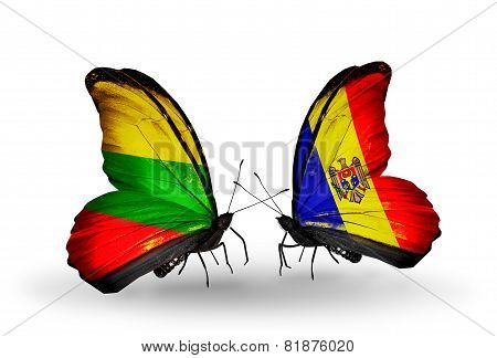 Two Butterflies With Flags On Wings As Symbol Of Relations Lithuania And Moldova