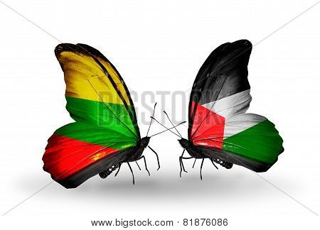 Two Butterflies With Flags On Wings As Symbol Of Relations Lithuania And Palestine